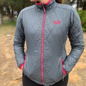 Mountain Hardware Gray and Pink Puffy Jacket